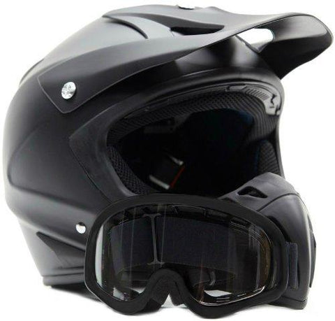 X-Large : Adult Offroad Helmet & Goggles Gear Combo DOT Motocross ATV Dirt Bike MX Flat Matte Black ( XL )-Automotive Parts and Accessories-Typhoon Helmets-Helmetdon