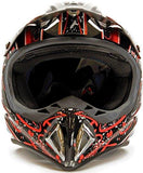 XX-Large : Adult Offroad Helmet & Goggles Gear Combo DOT Motocross ATV Dirt Bike MX Black Red Splatter ( XXL )-Automotive Parts and Accessories-Typhoon Helmets-Helmetdon