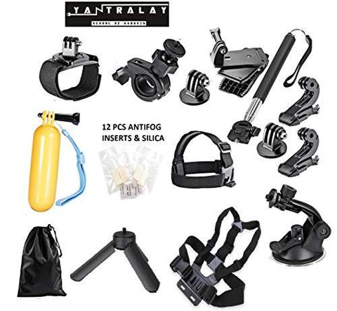 Yantralay 15 in 1 GoPro Accessories Kit for Hero 5 4 3+ 3 2 1, SJCAM SJ4000 SJ5000, Yi & Other Action Cameras (15 Items)-Sports-yantralay-Helmetdon