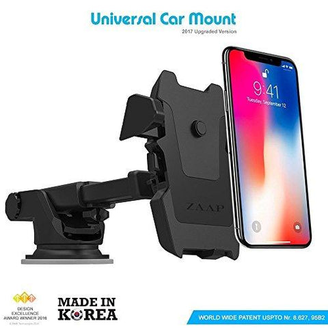Zaap Quick Touch One Premium 360 Adjustable 3-in-1 Car Mount Holder For All Smartphones (3rd Generation, Black)-ZAAP-Helmetdon