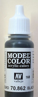 70862 Vallejo Model Color Paint: 17ml Black Grey  (M168)