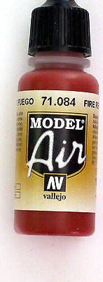 71084 Vallejo Model Airbrush Paint 17 ml Fire Red