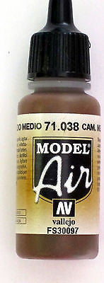 71038 Vallejo Model Airbrush Paint 17 ml Camouflage Medium Brown