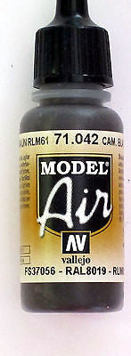 71042 Vallejo Model Airbrush Paint 17 ml Camouflage Black Brown