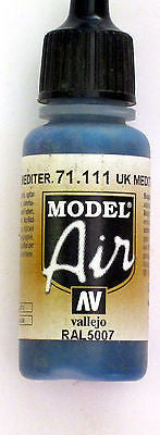 71111 Vallejo Model Airbrush Paint 17 ml UK Mediterranean Blue