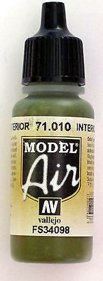 71010 Vallejo Model Airbrush Paint 17 ml Interior Green