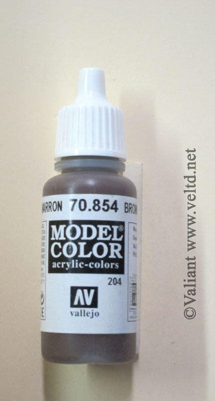 70854 Vallejo Model Color Paint: 17ml  Glaze Brown  (M204)