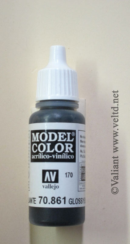 70861 Vallejo Model Color Paint: 17ml Glossy Black  (M170)