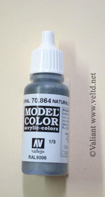 70864 Vallejo Model Color Paint: 17ml  Natural Steel  (M178)
