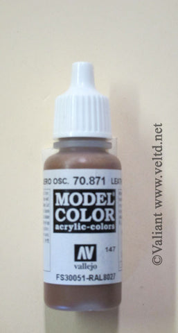 70871 Vallejo Model Color Paint: 17ml  Leather Brown  (M147)