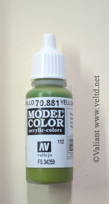 70881 Vallejo Model Color Paint: 17ml  Dark Yellow Green  (M112)