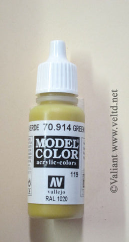 70914 Vallejo Model Color Paint: 17ml  Green Ochre  (M119)