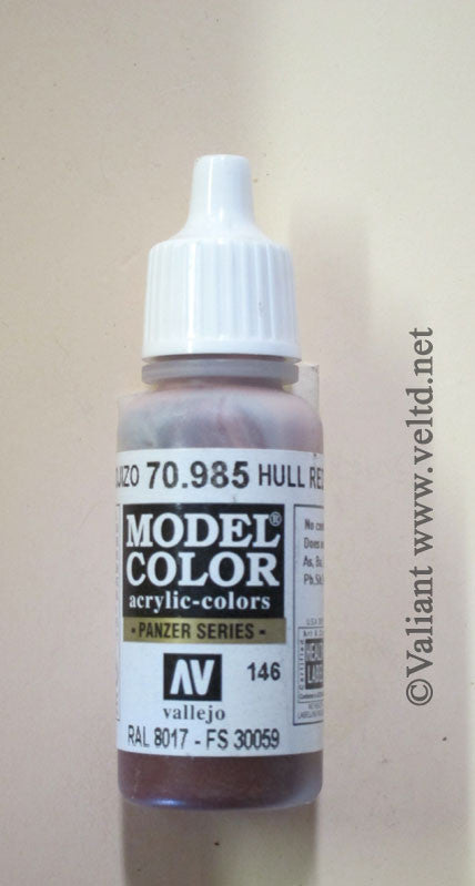 70985 Vallejo Model Color Paint: 17ml  Hull Red (M146)