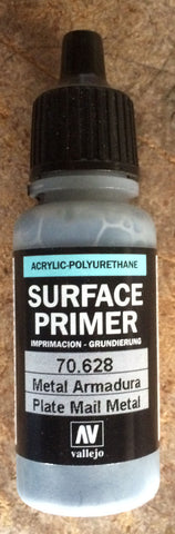 70628 Vallejo Plate Mail Metal Surface Airbrush Primer 17ml Acrylic-Polyurethane