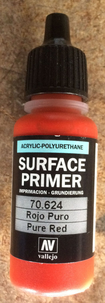 70624 Vallejo Pure Red Surface Airbrush Primer 17ml Acrylic-Polyurethane