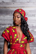 RED BULB African print head wrap headwrap ofuure