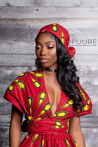 RED BULB African print head wrap - ÖFUURË