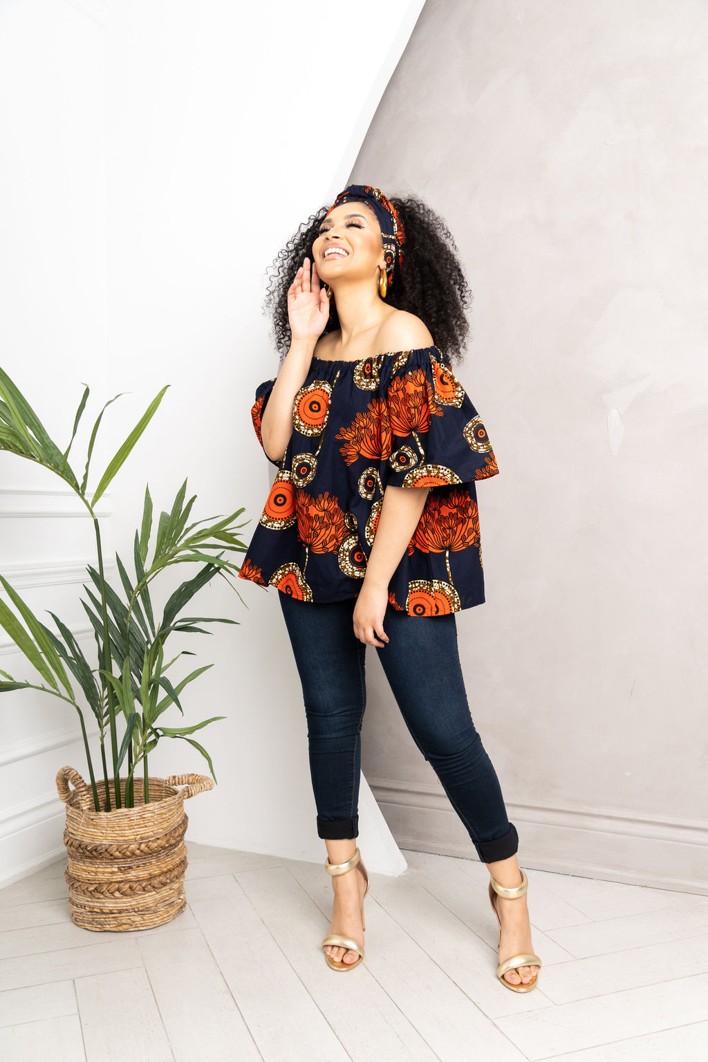 MOSOPE African print Off-shoulder top