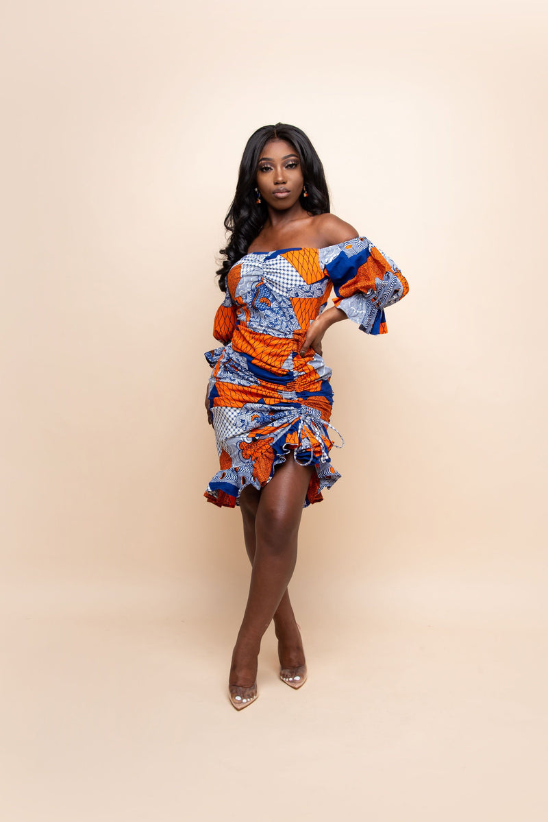 ZARIAH African Print Dress (RUCHED)