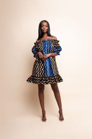 PELUMI African Print Off-shoulder Mini Dress