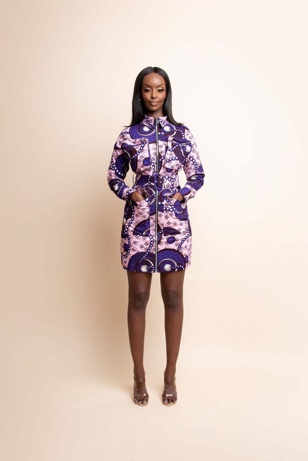 PEJU African Print Cargo mini dress