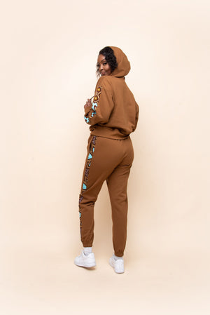 BROWN QUEEN Hoodie Jogger Set