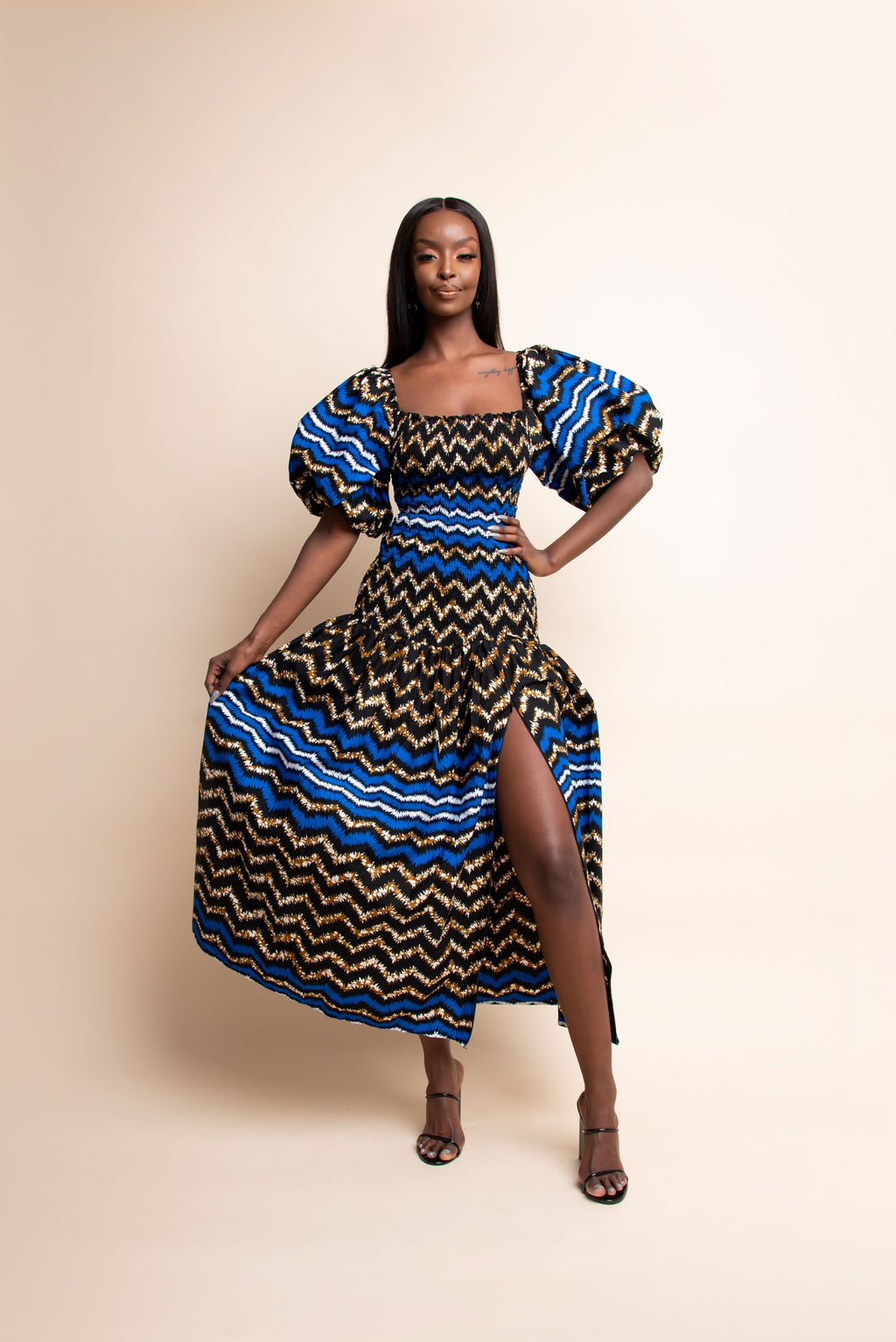PELUMI African print off smocked body maxi dress