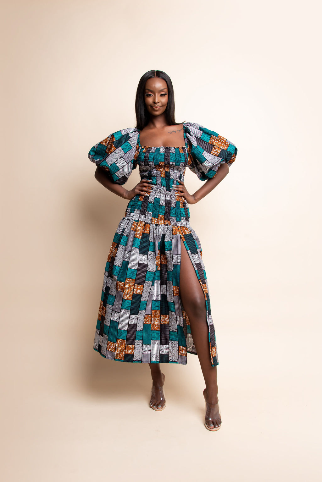 LANRE African print off smocked body maxi dress
