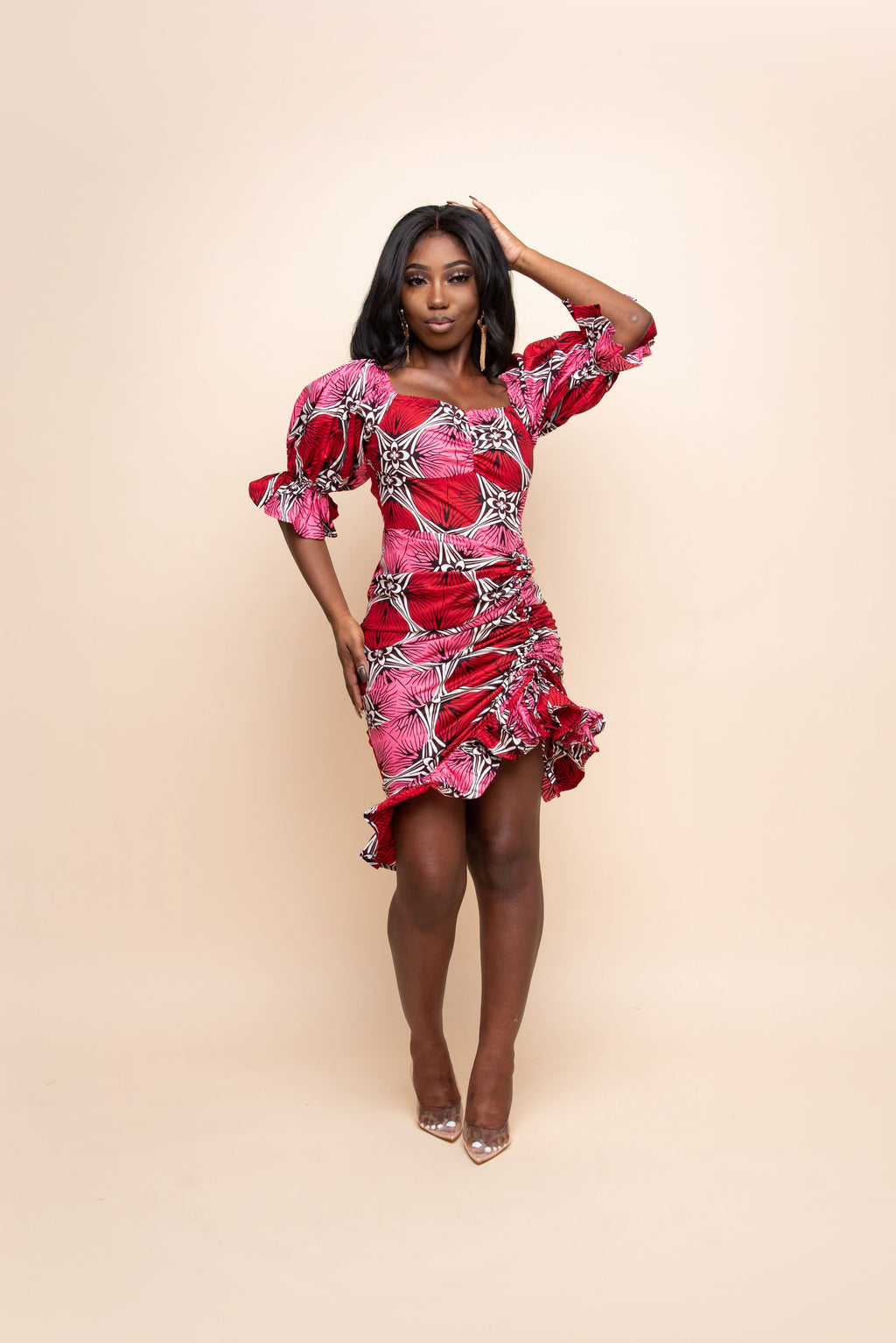TOSIN African Print Dress (RUCHED)
