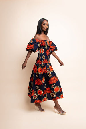 MOSOPE African print smocked body maxi dress