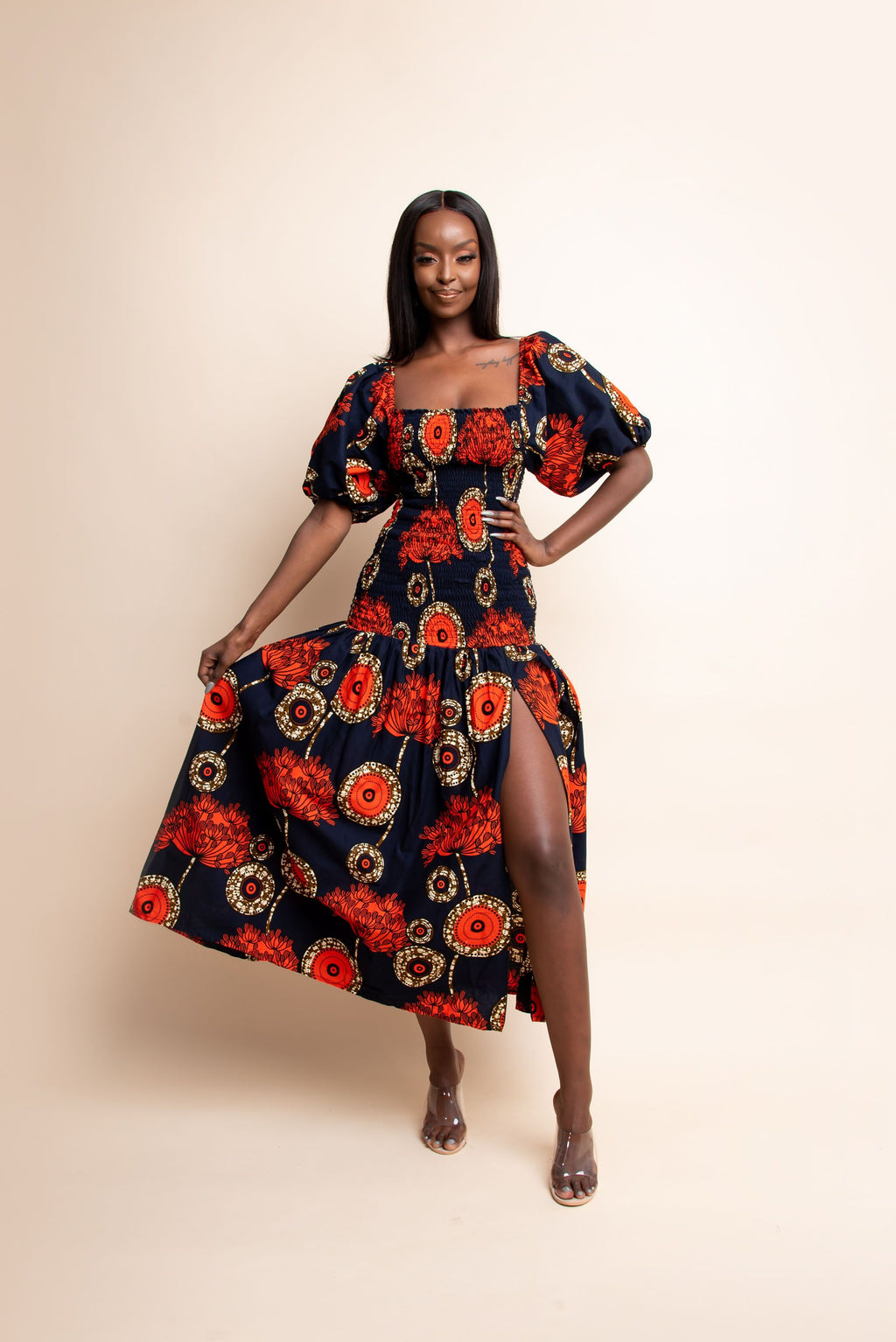 MOSOPE African print off smocked body maxi dress