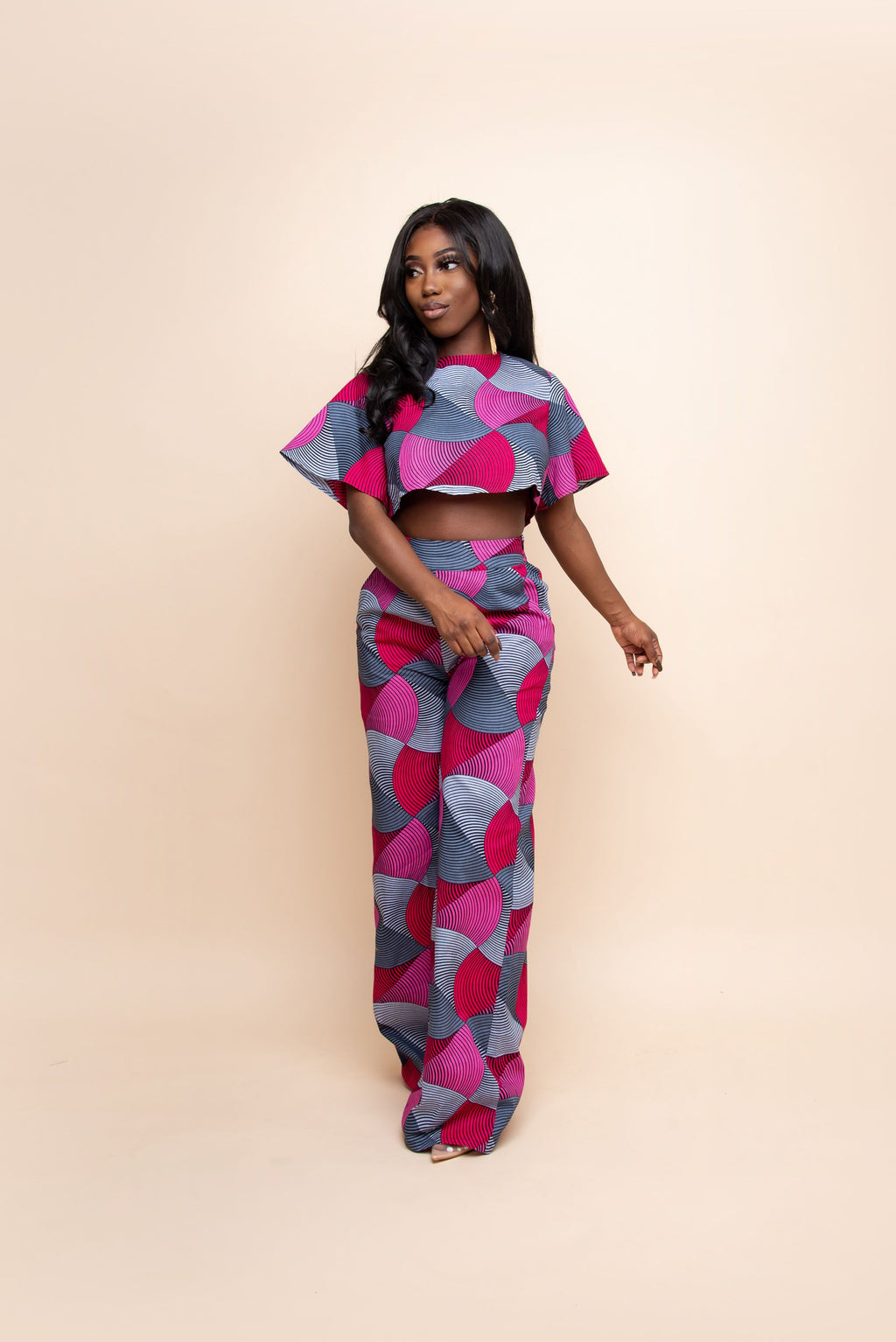 TOLANI African Print Crop Top (short sleeve)