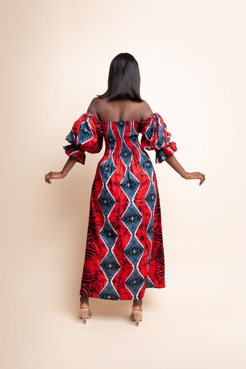 KUNLE African print smocked maxi dress (PUFFY SLEEVE)
