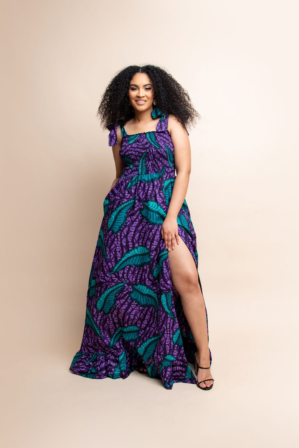 UMMI African print off smocked maxi dress (TIE)