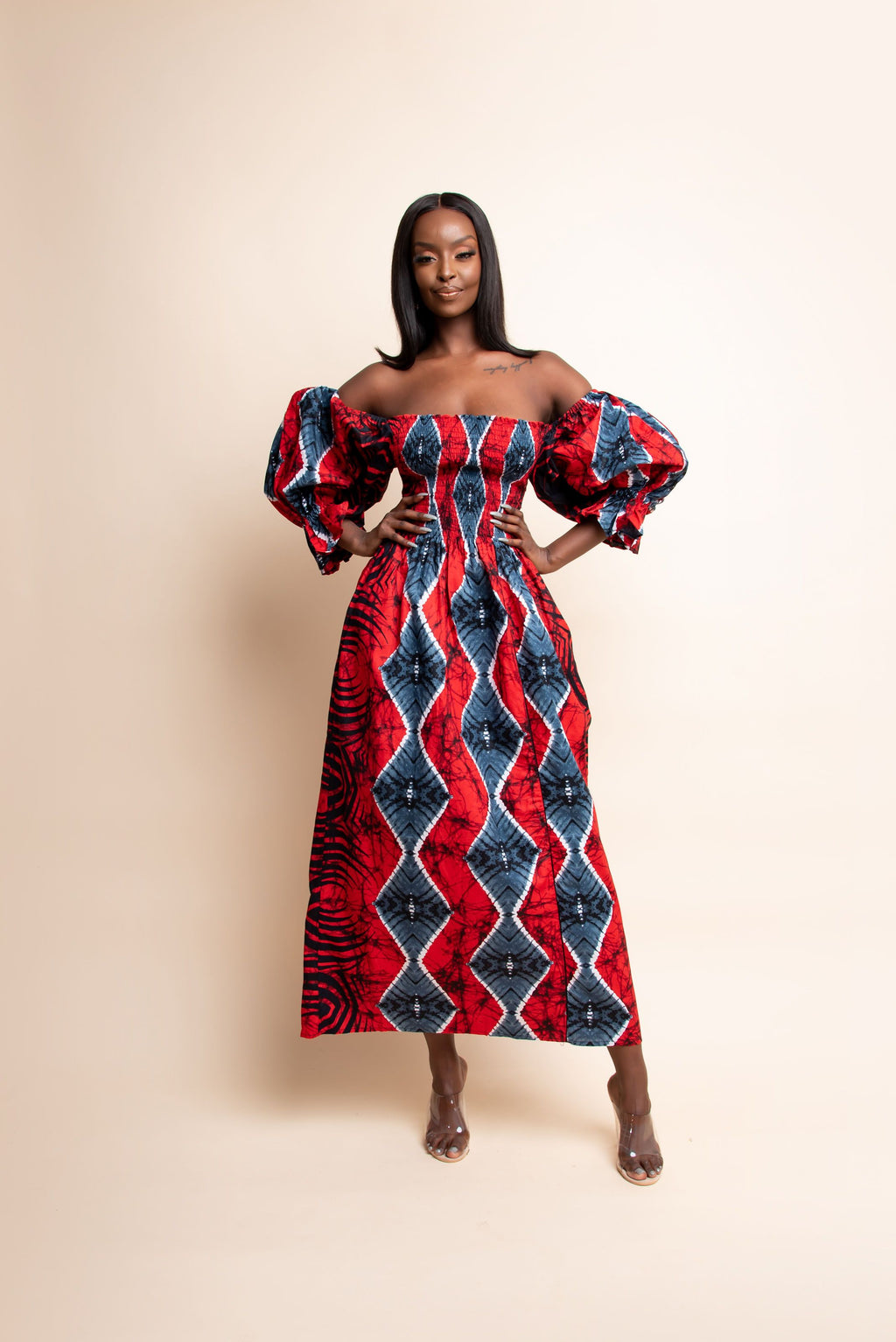 KUNLE African print off smocked maxi dress (PUFFY SLEEVE)