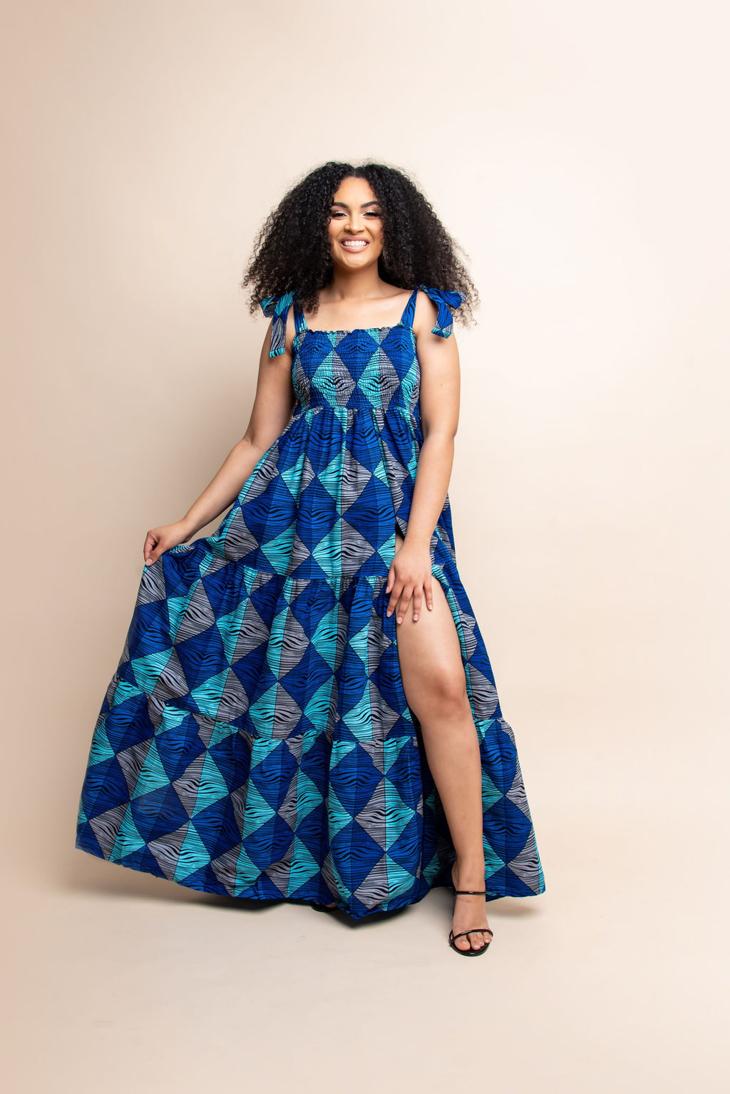 BOSE African print off smocked maxi dress (TIE)