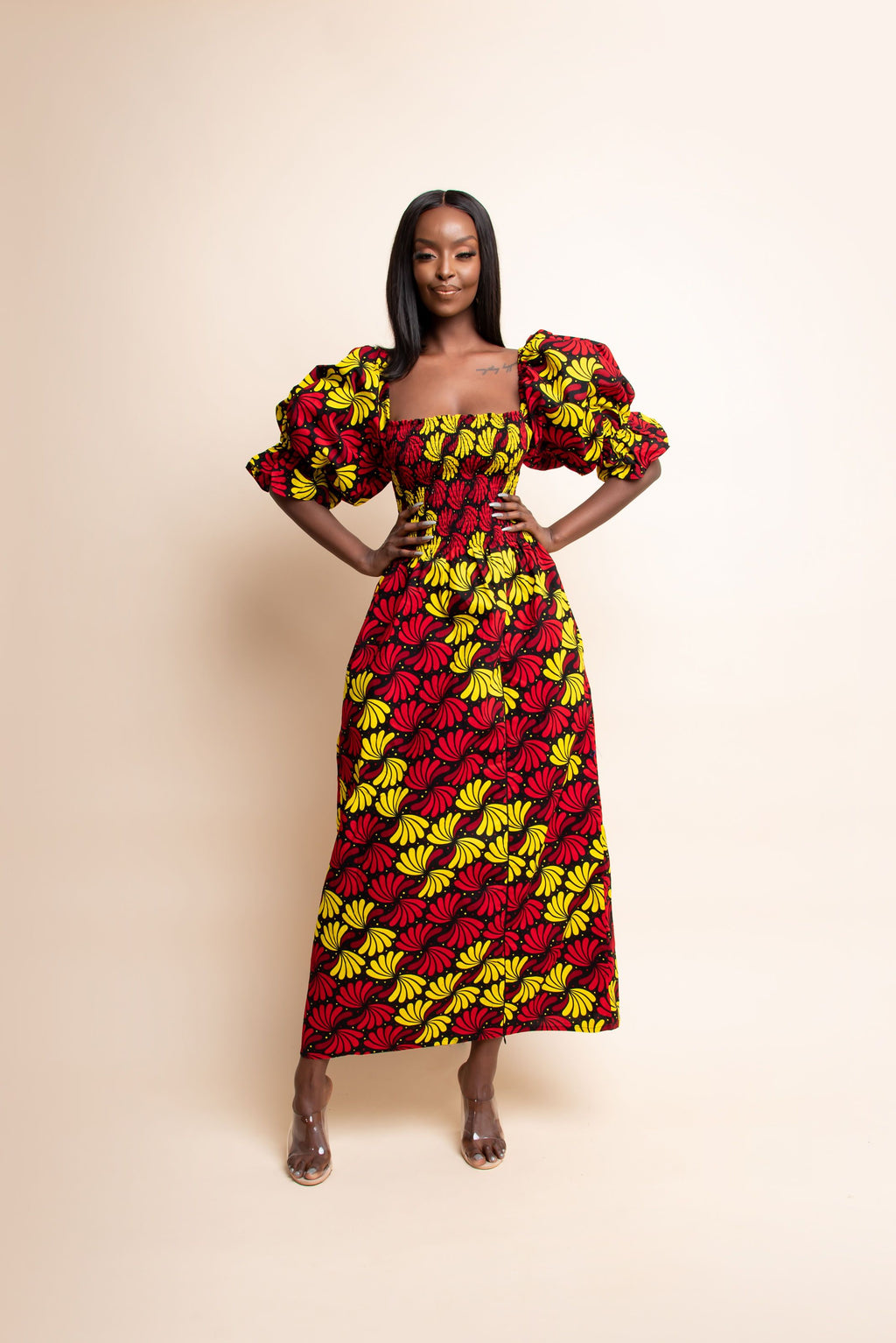 SEFUNMI African print off smocked maxi dress (PUFFY SLEEVE)