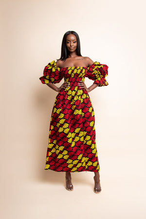 SEFUNMI African print smocked maxi dress (PUFFY SLEEVE)