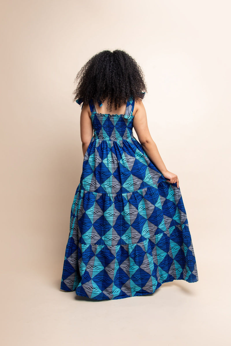 BOSE African print smocked maxi dress (TIE)