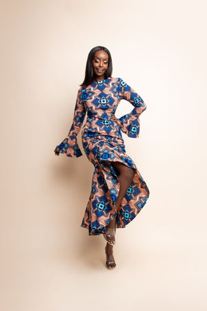 IVIE African Print Ruched Hi-low Dress