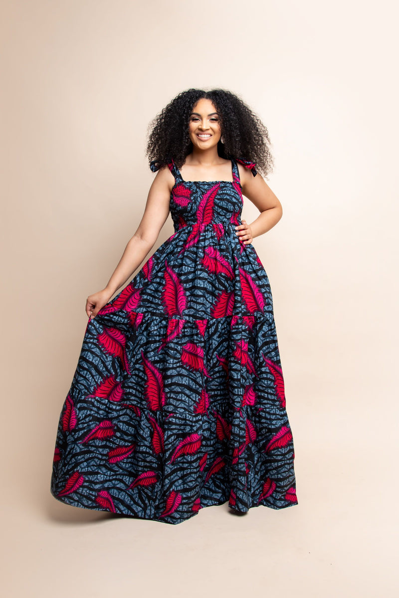 SIKI African print smocked maxi dress (TIE)