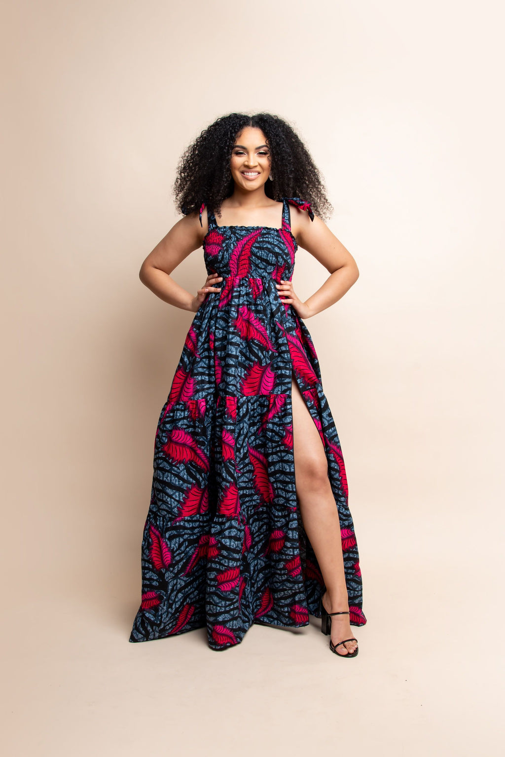 SIKI African print off smocked maxi dress (TIE)