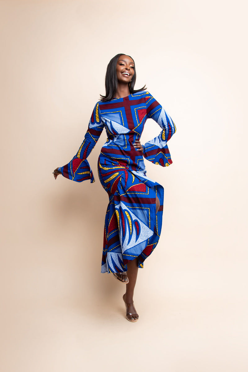 MOTUN African Print Ruched Hi-low Dress