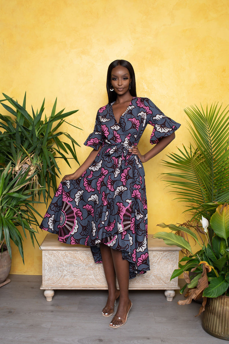 NIFE African Print Wrap Maxi Dress