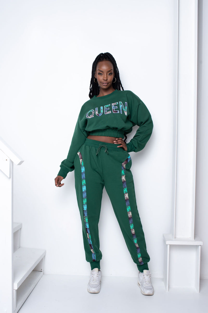 GREEN CROP QUEEN Jogger Set