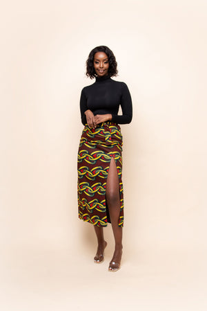 ENO African Print Mid - Maxi Skirt
