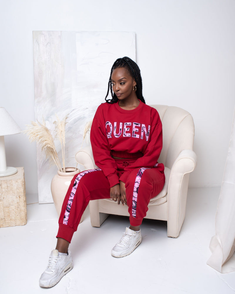 RED CROP QUEEN Jogger Set