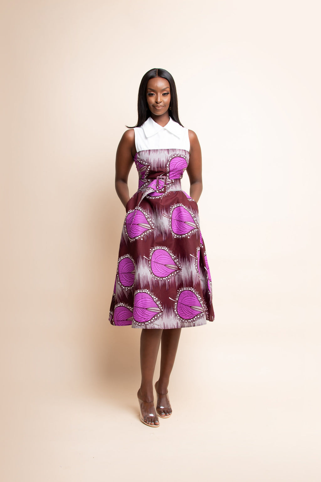 ONYINYE African Print Midi Dress (collar)