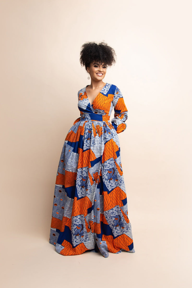 ZARIAH African Print Wrap Maxi Dress
