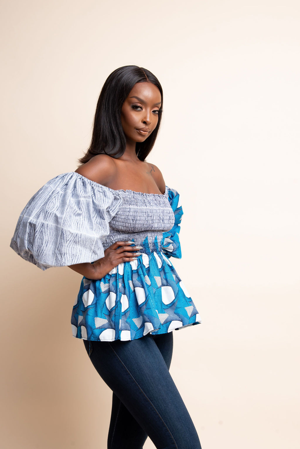 WURA African print smocked top